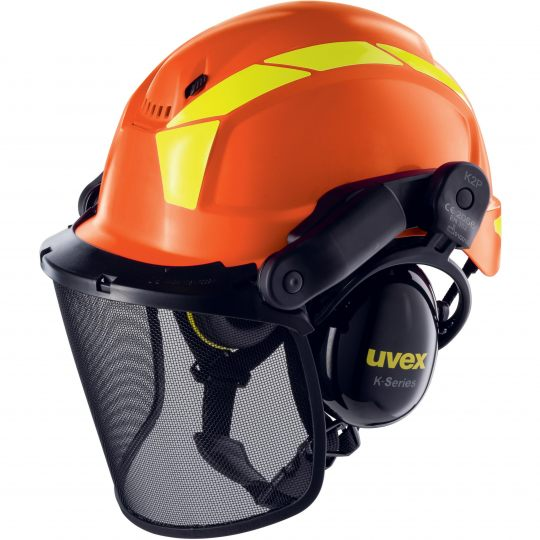Casque complet forestier orange